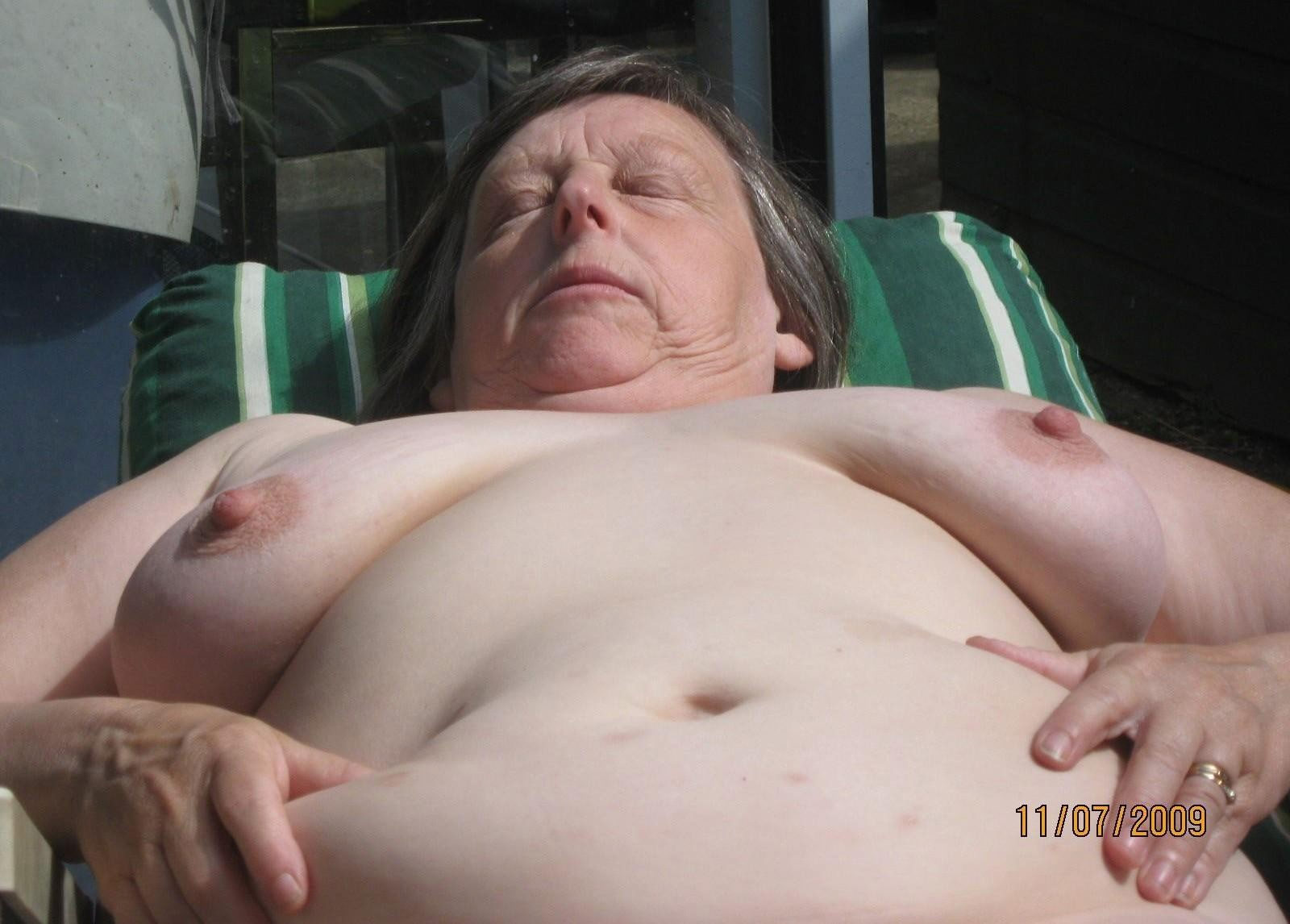 fat people sunbathing naked