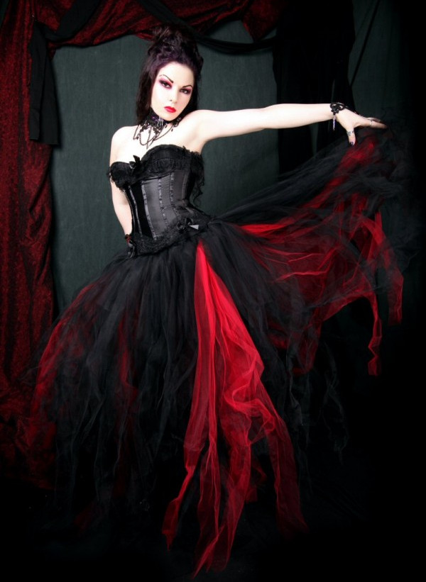 Devilinspired gothic clothing black and red gothic for Black gothic wedding dress