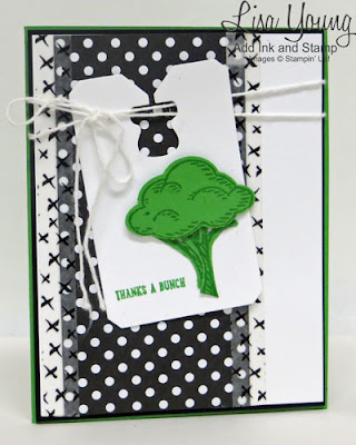 Stampin' Up! Sprinkles of Life stamp set. Bunch of Broccoli and Thanks a Bunch. Green, Black and White handmade card by Lisa Young, Add Ink and Stamp