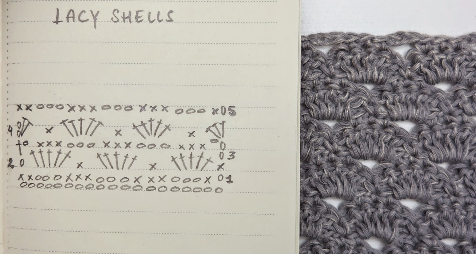 ByHaafner, crochet chart, pattern, lacy shells