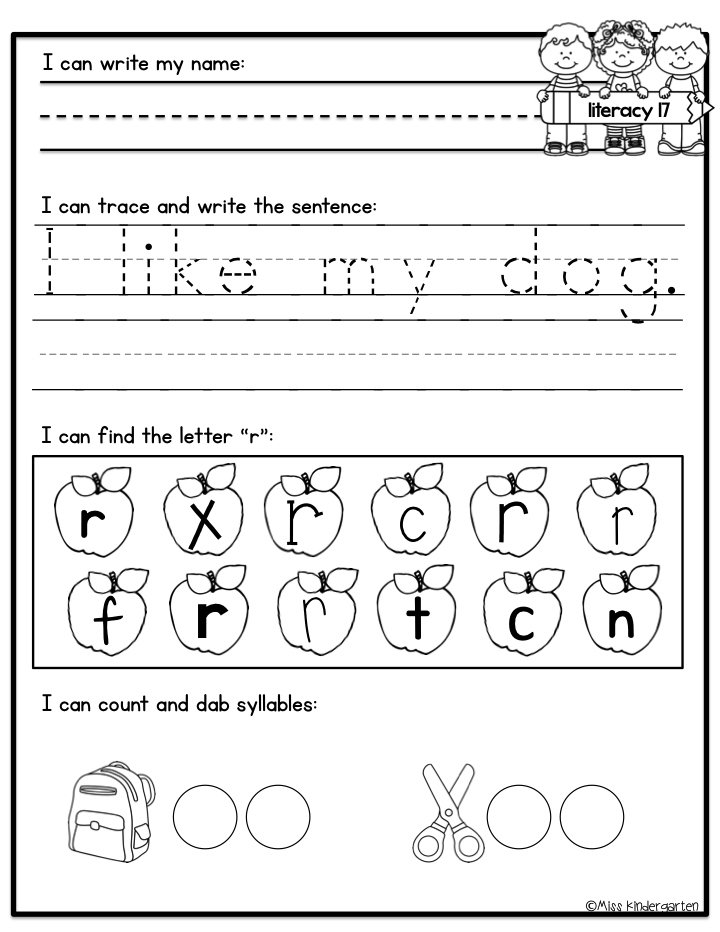 Kindergarten Morning Work - Miss Kindergarten
