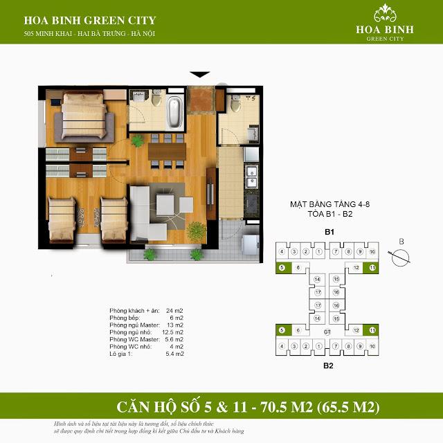 Mặt bằng căn 5 - 11 tầng thấp chung cư Hòa Bình Green City