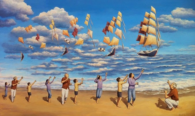 Fantástica pintura con ilusión óptica de Rob Gonsalves.