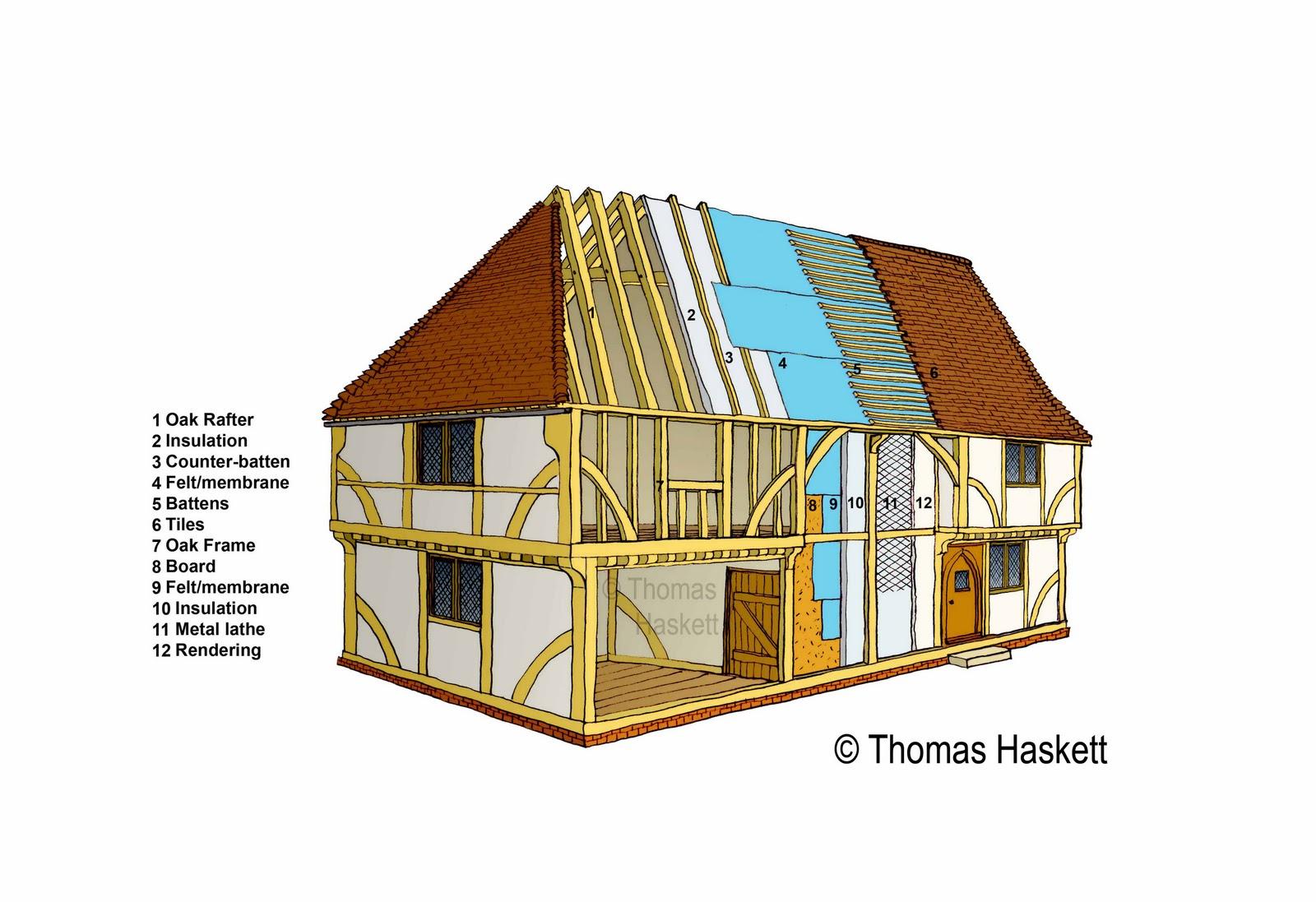Thomas Haskett Illustration: Oak Framed House (Timber Frame Diagram)