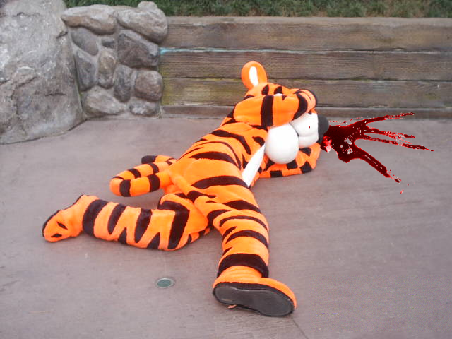 Tigger was subdued by a series of .303 rifle bullets to the head