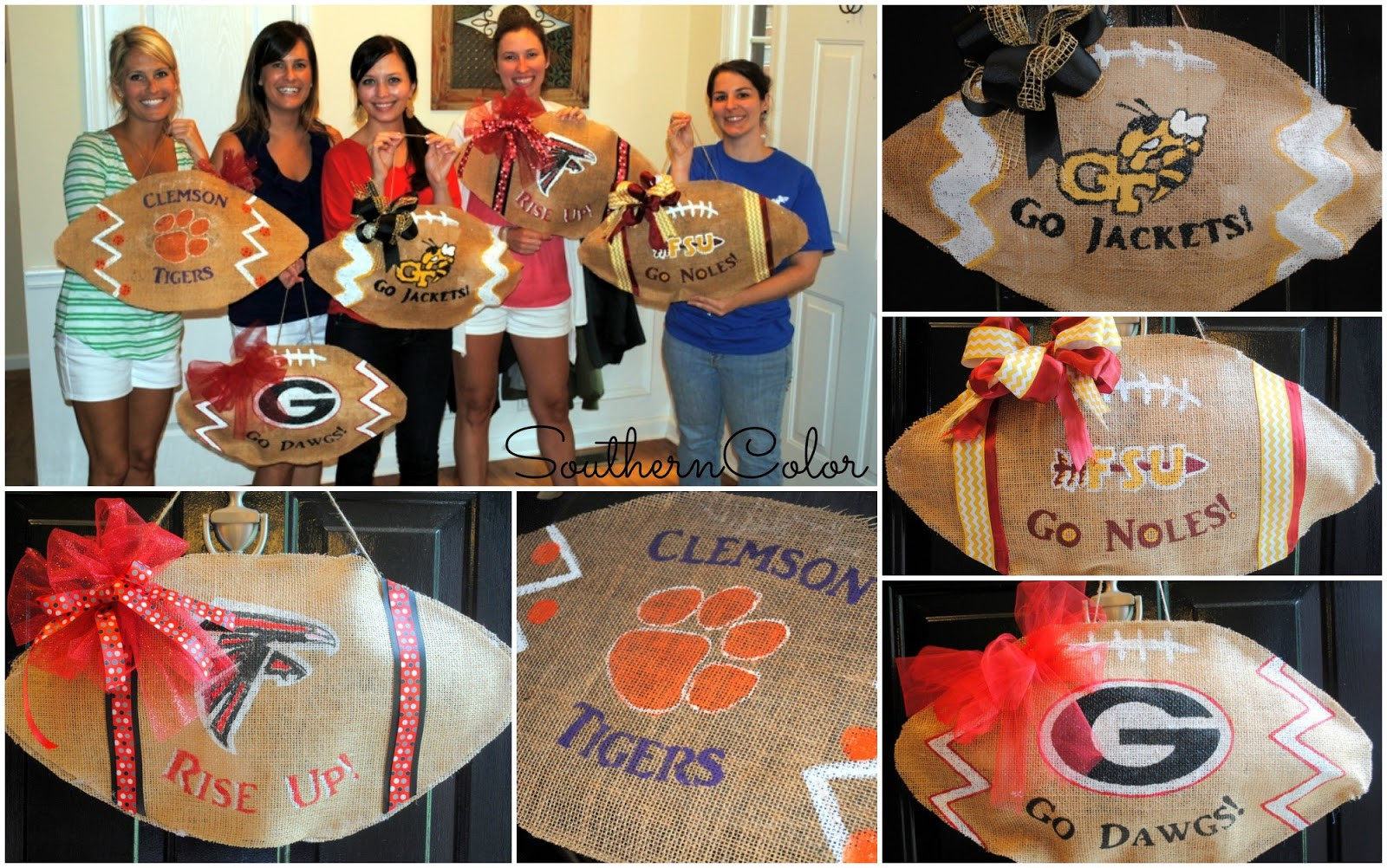 southern color collegiate burlap football door hanger i usually put a cute red and black deco mesh wreath on the front door but this year i m switching it up we re decorating our homes with burlap football