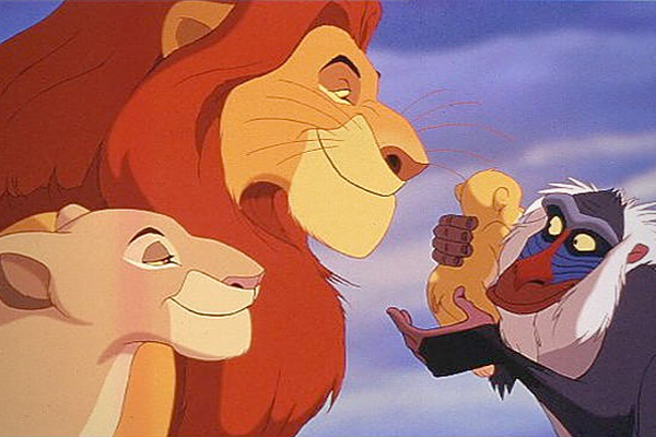 Simba, Mufasa and a baboon The Lion King 1994 disneyjuniorblog.blogspot.com
