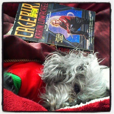 Murchie lays on his side within a blanket nest. He wears a red t-shirt with green cuffs. Behind him sits a paperback copy of Cagebird. Its cover features a pale-skinned blonde man in a tight red shirt and black pants.