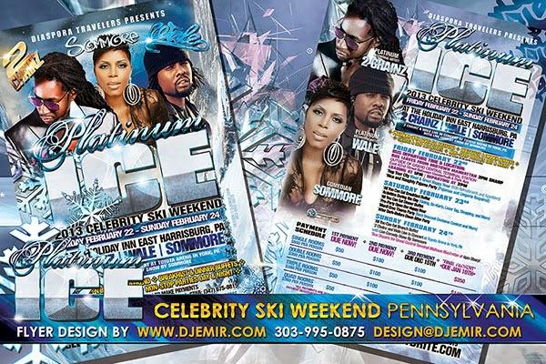 Platinum And Ice Black Celebrity Ski Weekend Flyer Design Pennsylvania