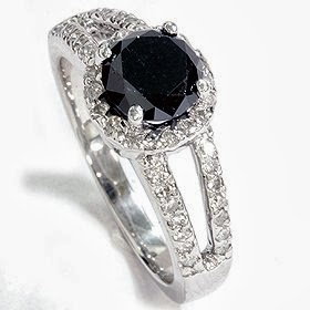 Real 2.00ct Huge Black Diamond Pave Halo Ring 14K White Gold
