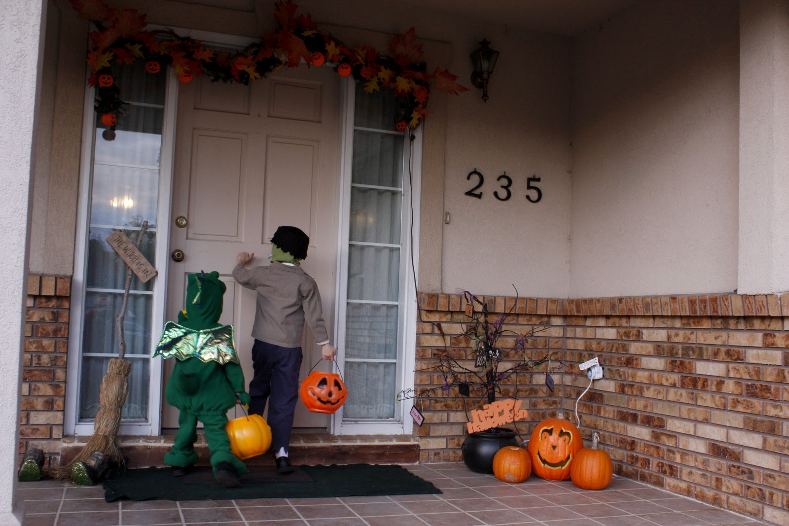 Trick-or-treating kids