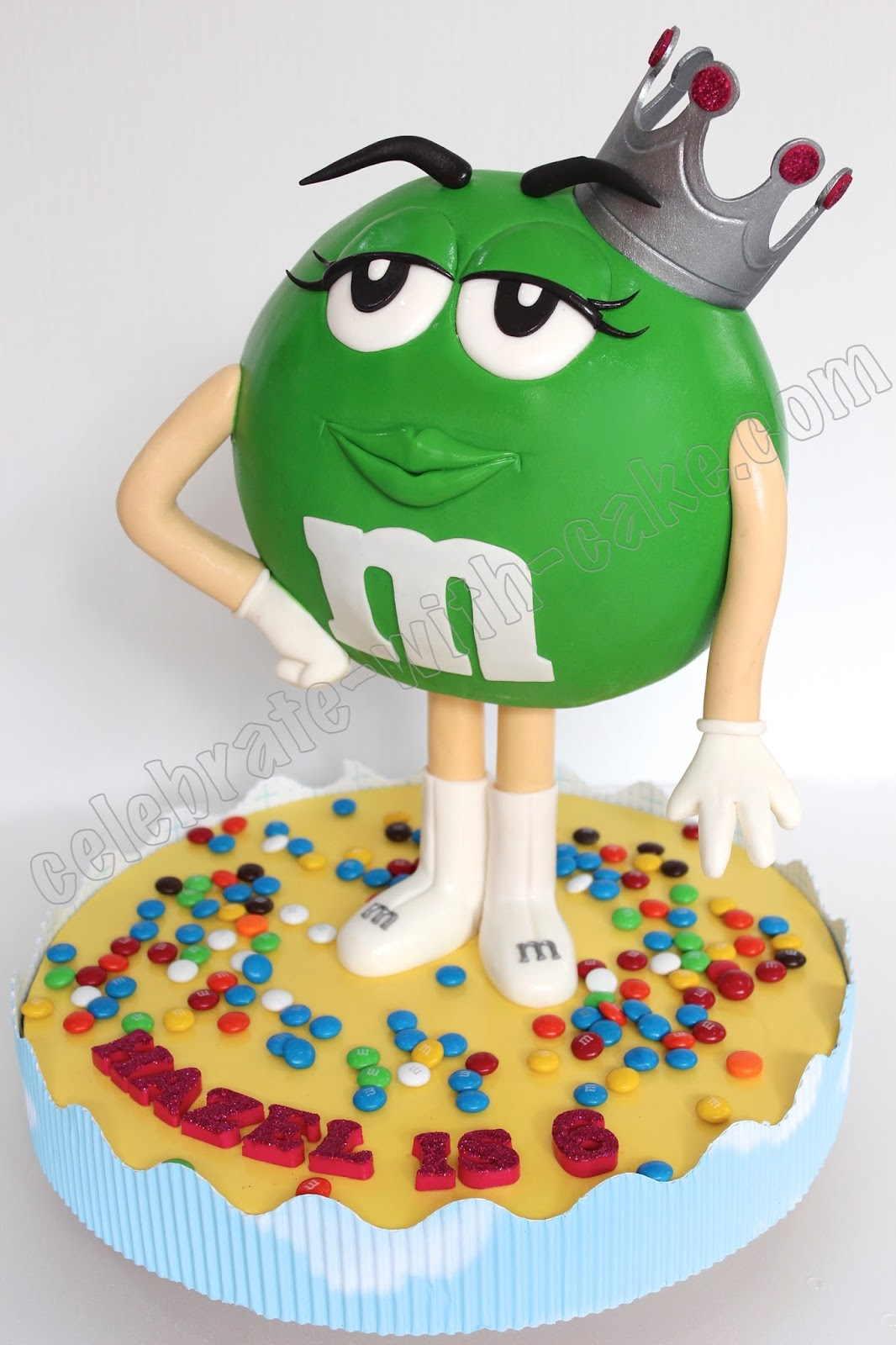 Celebrate with Cake Sculpted Green MM Cake