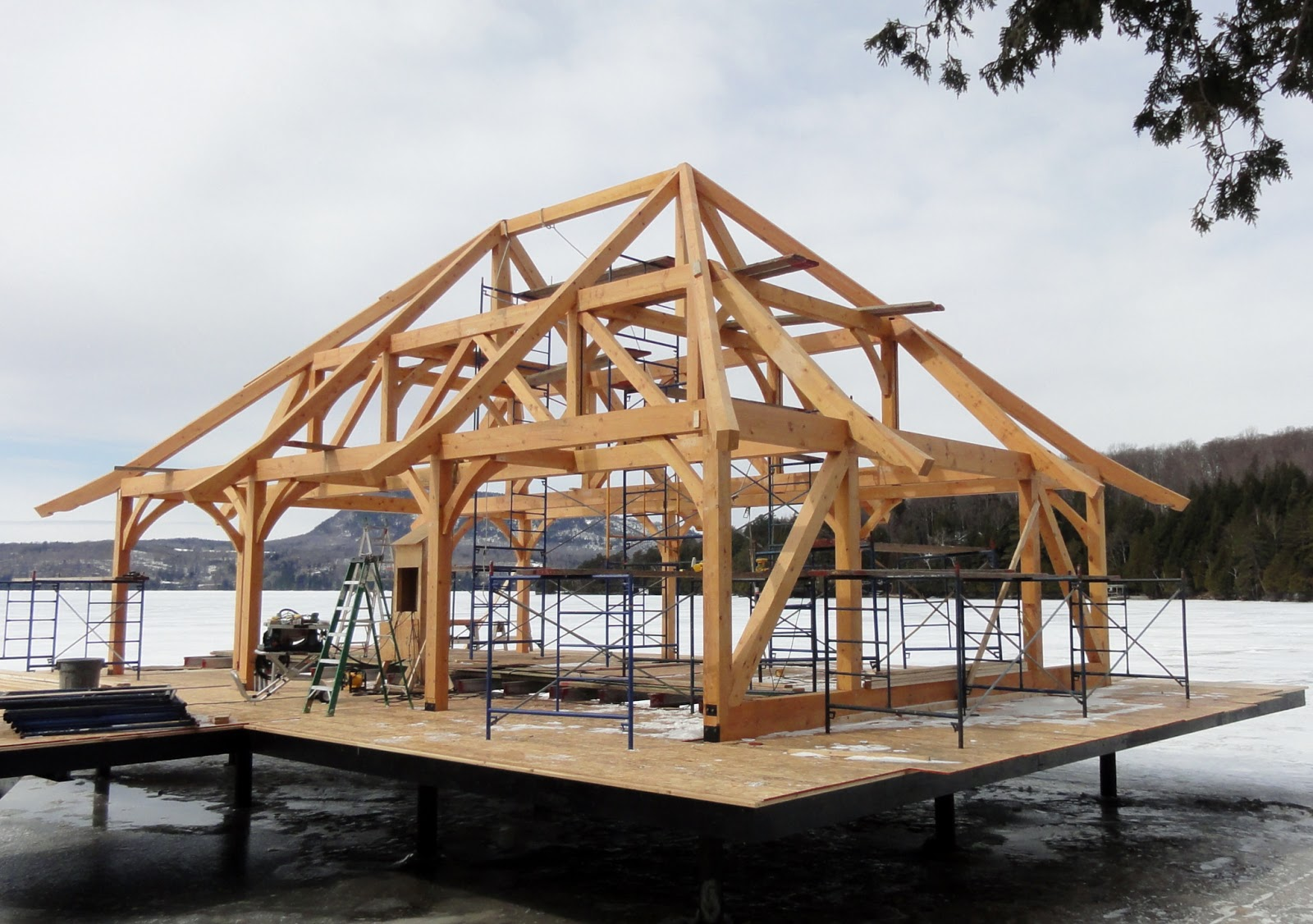 Timber frame design pretty boat house for Timber frame designs