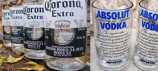 vasos a partir de botellas de cristal recicladas