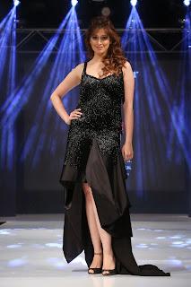 Actress Raai Lakshmi  Pictures in Black Long Dress at Kingfisher Ultra Hyderabad International Fashion Week 2014 Ramp walk   030.jpg