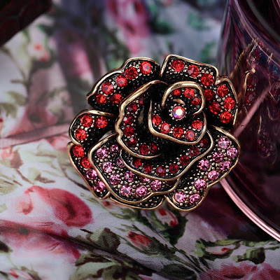 vintage gold flower rings rose stretch