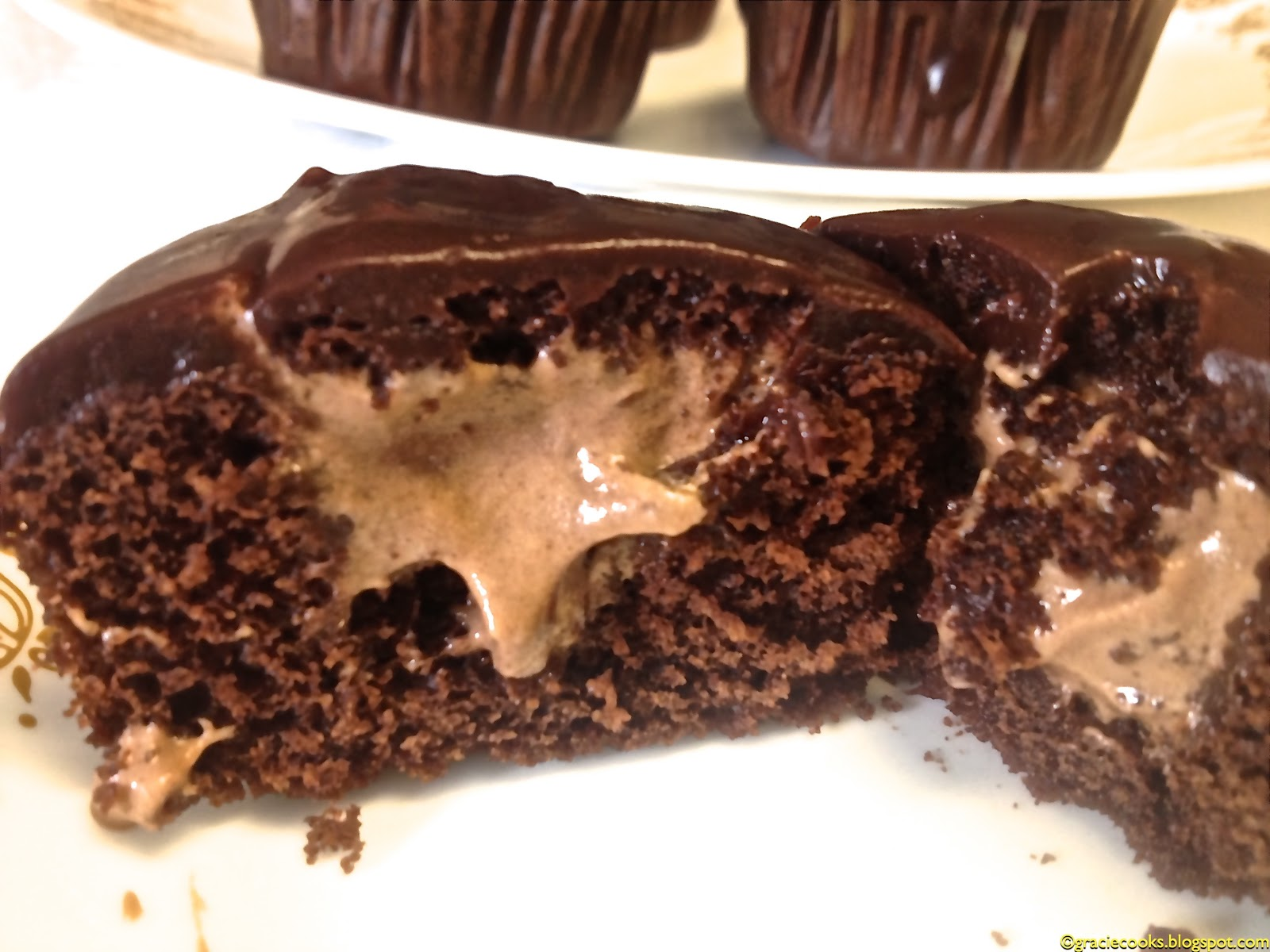 Gracie Cooks!: Chocolate Cupcakes: Coffee Kahlua Mousse filled, Choc ...