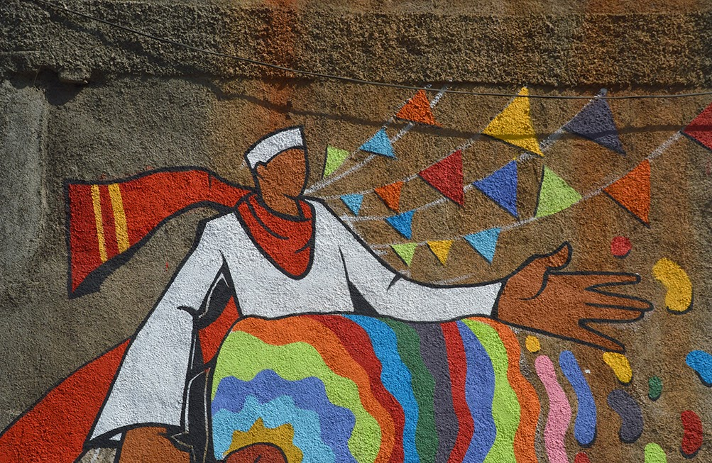 Pune Street Art Project Mural Kasba Peth dhol pathak