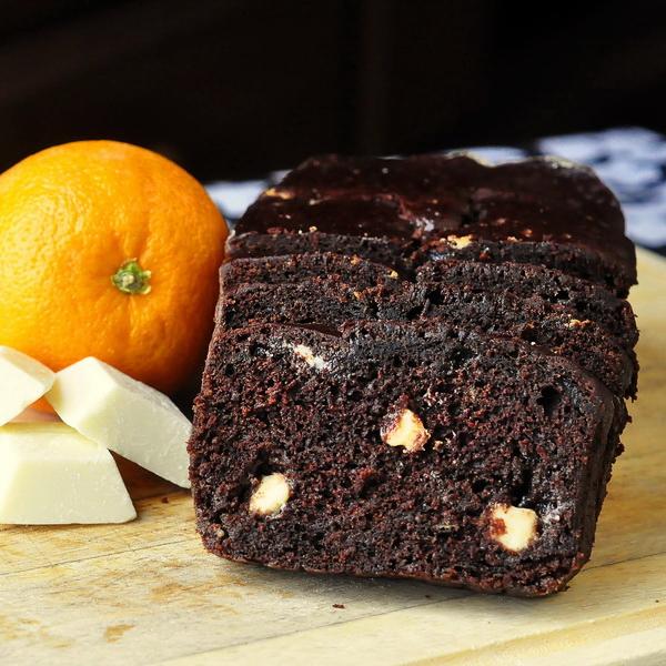 Chocolate Orange Banana Bread with White Chocolate Chunks