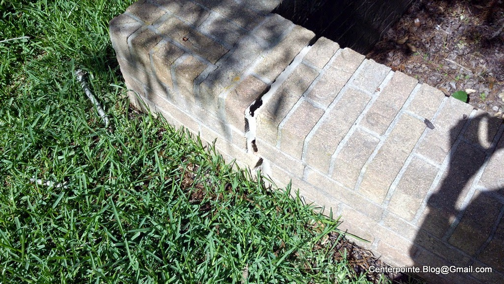 You Don T Have To Go Far Before See An Example Of The Rigid Structure Damage I M Talking About Here S A Low Landscaping Wall Split Because Shifting