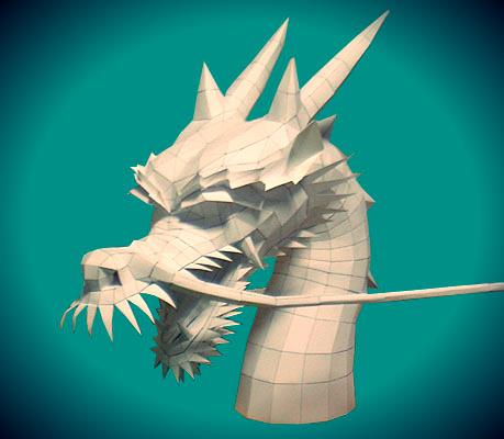 A Classic Chinese Dragon Head Paper Model