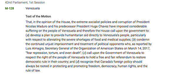 Parliament of Canada motion M-128: Official Recognition of the suffering of the people of Venezuela