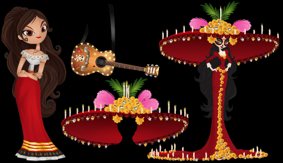 Stardoll Free Book of Life items - Maria Doll, Manolo Guitar, La Muerte Hat, La Muerte Doll