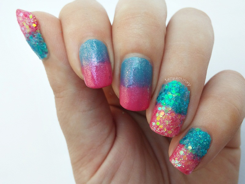 Tanya minxy nails glitter gradient nails glitter gradient nails nail art design manicure notd bps glitter powder set essence effect nail polish prinsesfo Gallery
