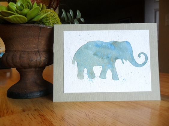 Watercolor Elephant Card