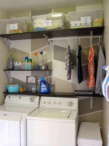 Simple, organized laundry area :: OrganizingMadeFun.com