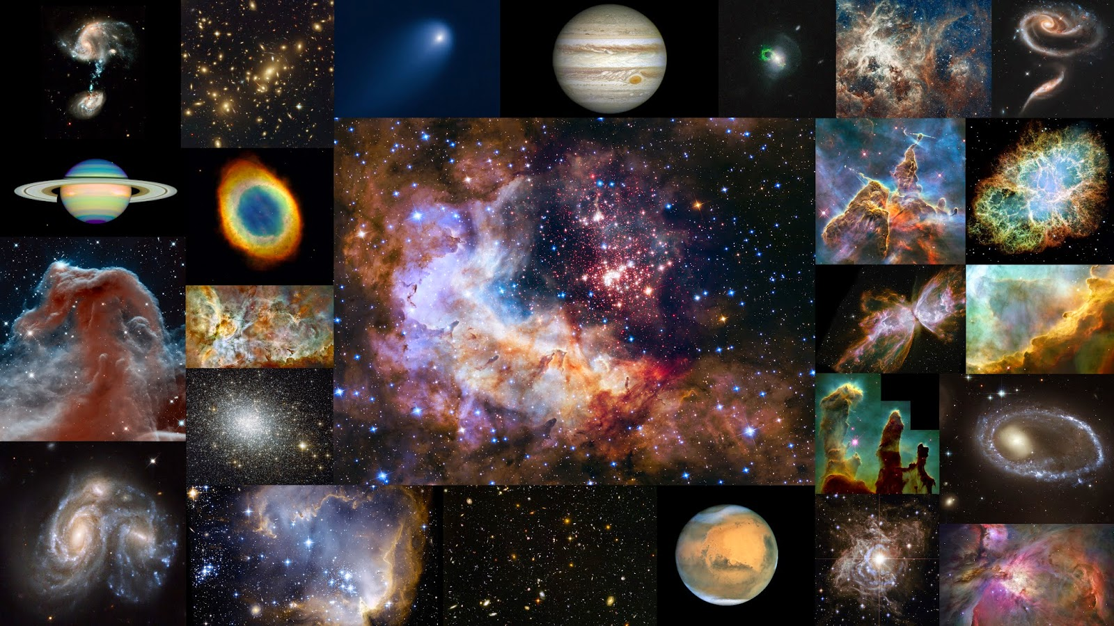 From planets to planetary nebula, and from star formation to supernova explosions, the NASA/ESA Hubble Space Telescope has captured a wealth of astronomical objects in its 25-year career. This montage presents 25 images that sample the space telescope's rich contribution to our understanding of the Universe around us. Credit: ESA