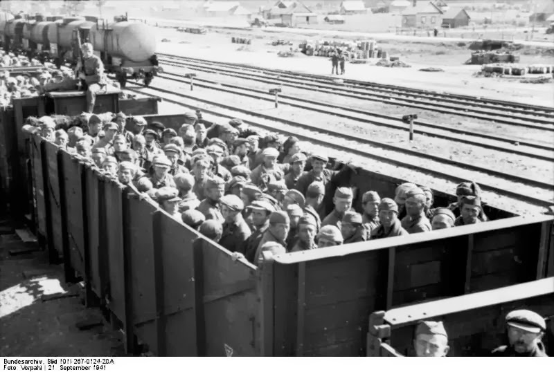 Soviet prisoner herded in cattle trains
