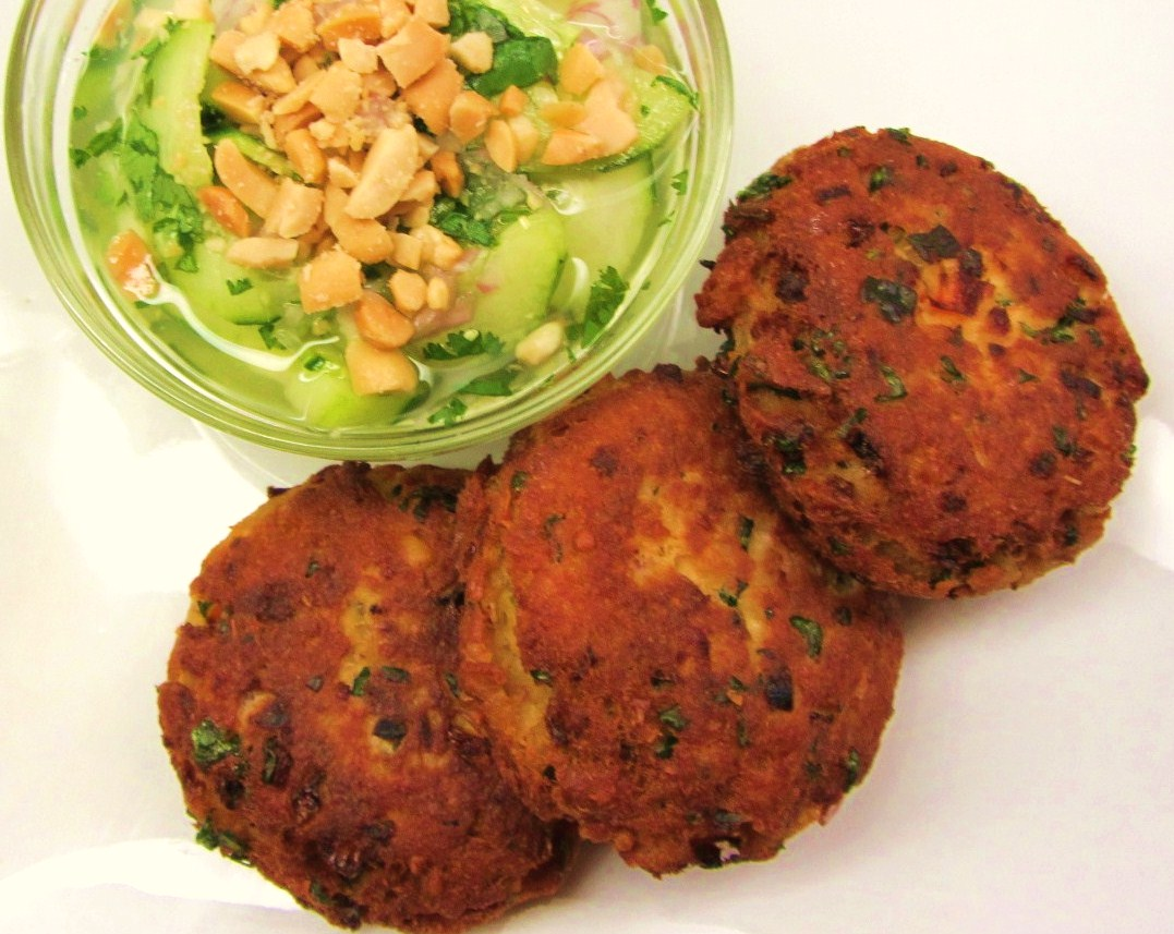 Salmon Croquettes and simple Thai cucumber salad