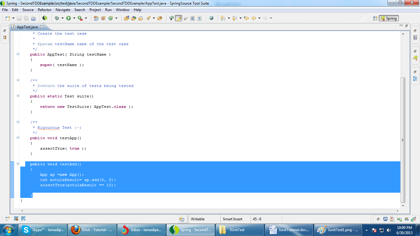 Java tuts test driven development tdd open apptestjava file and write following code baditri Images