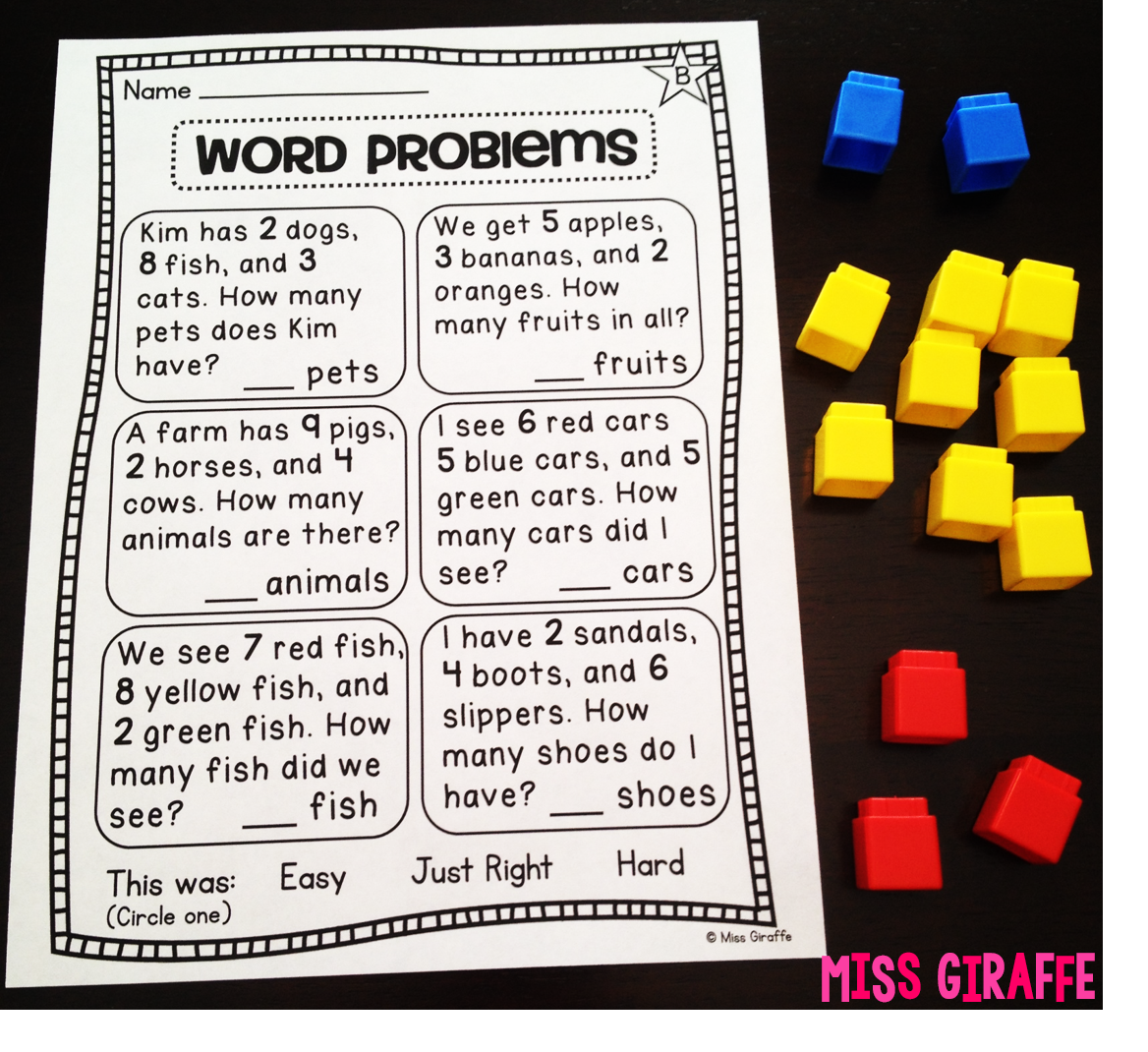 Miss Giraffes Class Adding 3 Numbers – Addition Word Problems Worksheets for 1st Grade