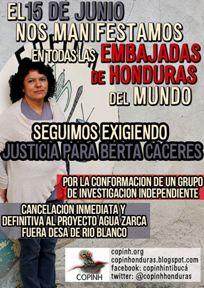 Manifestación global por Berta Cáceres el 15 de junio