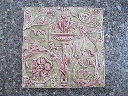 Majolica Tile - Sage and Pink Scroll