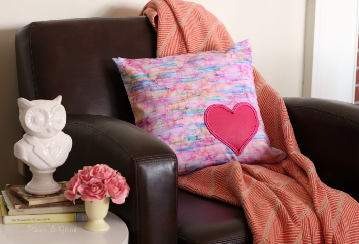 DIY Watercolor Heart-Embellished Pillow--Perfect for Valentine's Day decor! pitterandglink.com