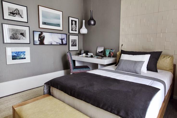 Decoração quarto de casal com discreto home office  Jeito de Casa  Blog d