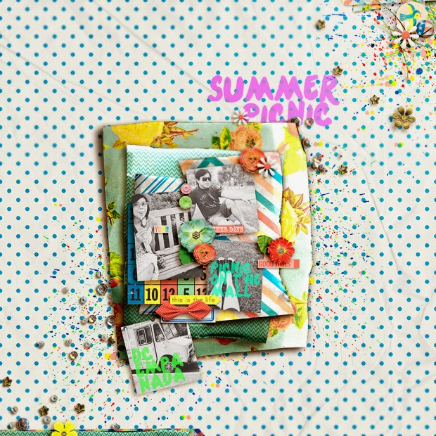 Summer Picnic // Scrapbook Layout // 12x12 // Freedom by Jenn Barrette