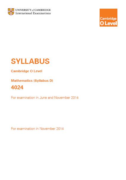 ... Khan[OFFICIAL]: COMPLETE SYLLABUS OF O-LEVEL MATHS (Syllabus D) 4024