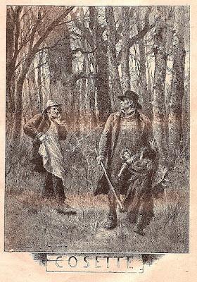 Cosette, Jean Valjean, Thénardier, Les Misérables, Victor Hugo, gravure, XIXe siècle