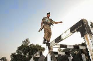 Cadet of OTA doing physical exercises