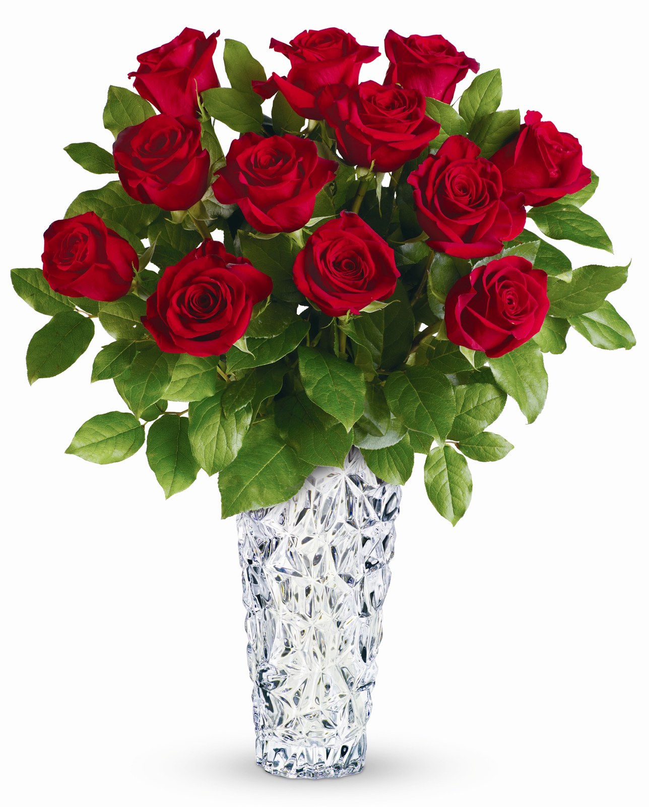 Impress Your Leading Lady With This Exquisite Arrangement Of Lush Long Stem Red Roses Displayed In A Magnificent Sculpted Glass Vase