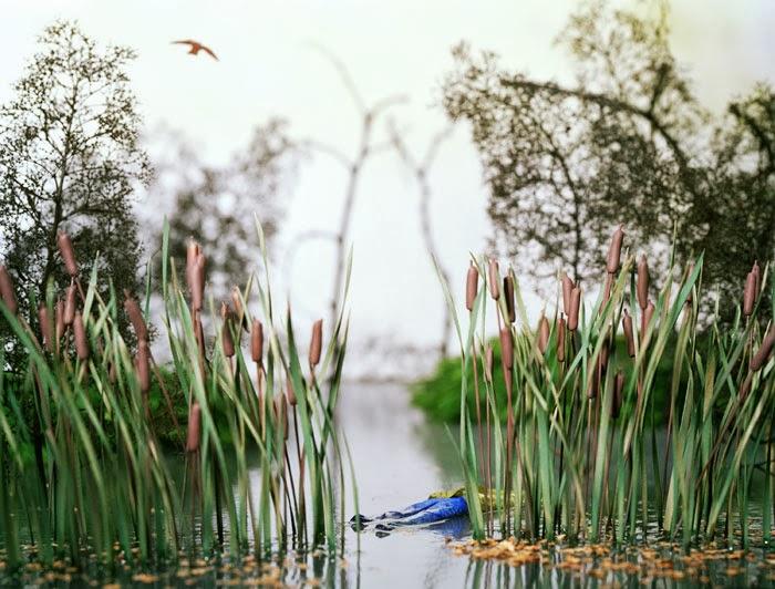 miniatura de cadaver en lago