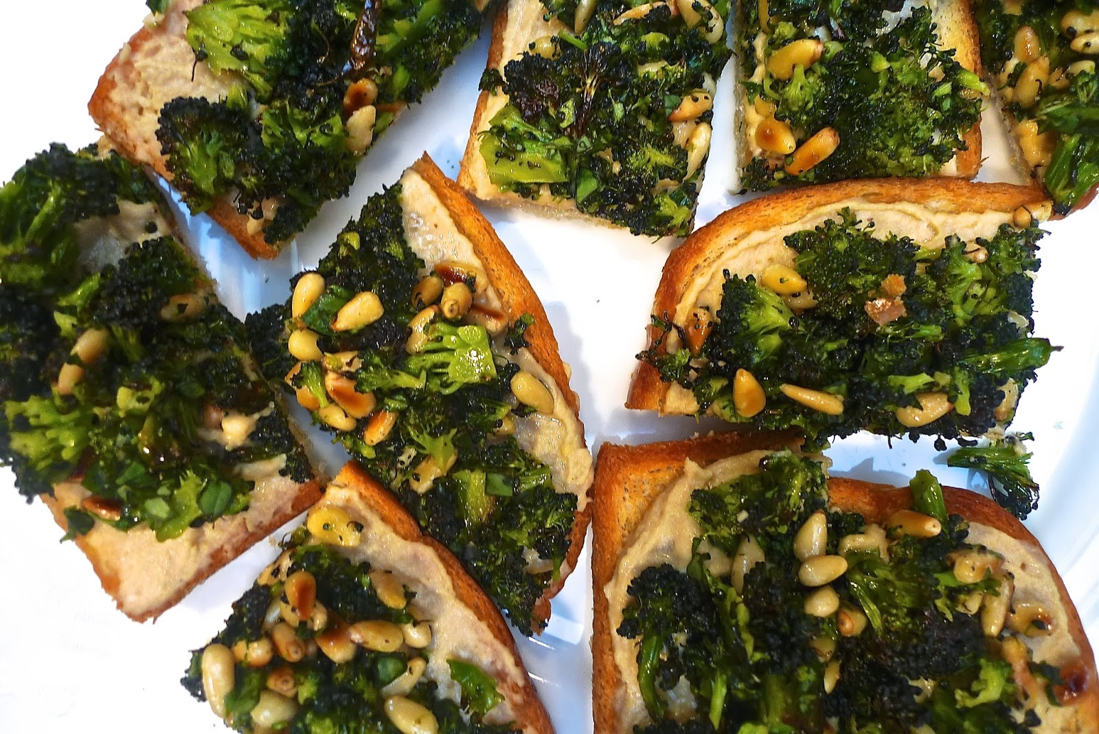 siriously delicious: Roasted Broccoli and Hummus Toasts