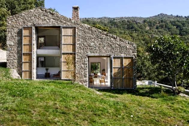 Contemporary stone house design in countryside of for Modern stone house plans