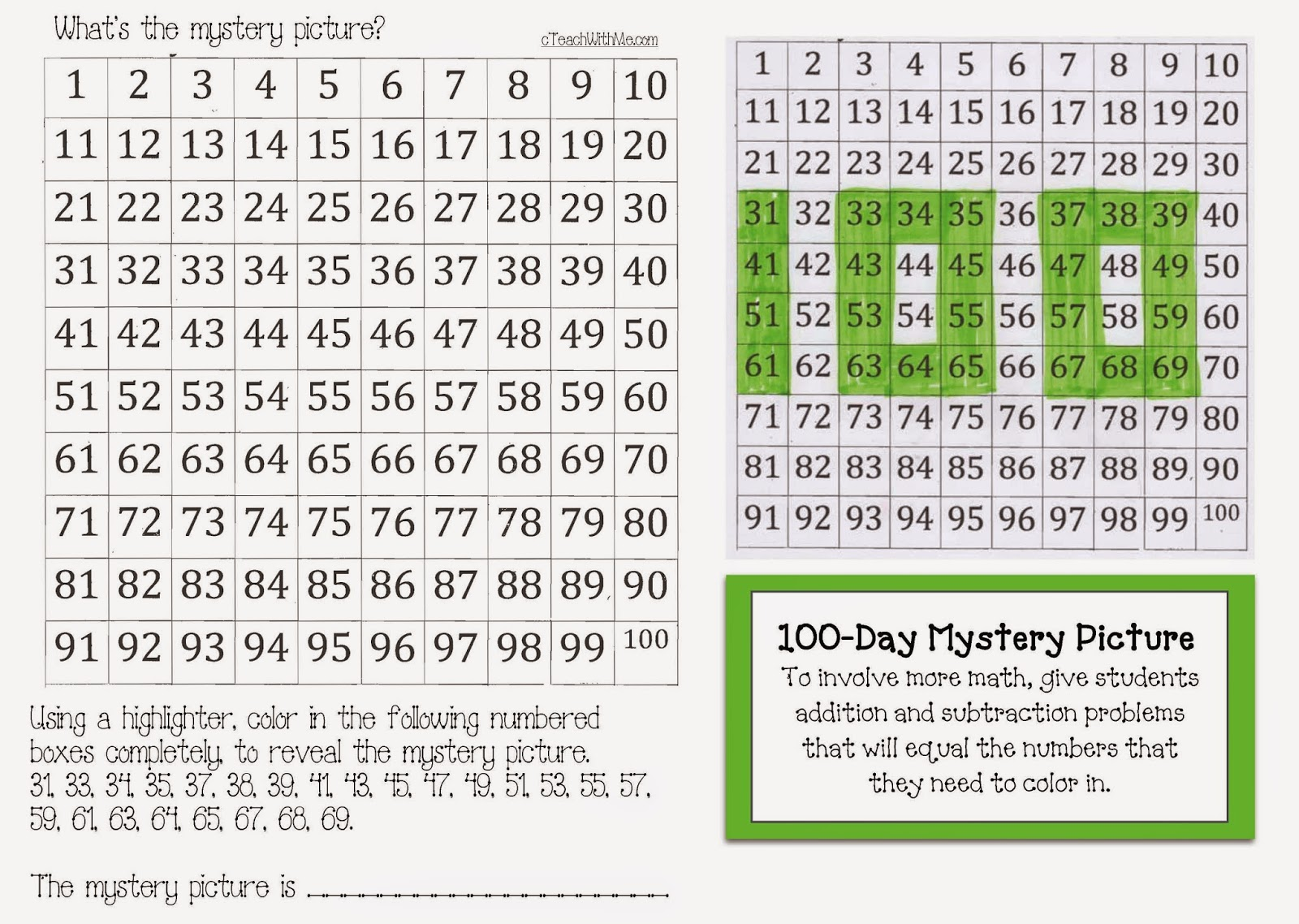 Worksheet hundred chart puzzles grass fedjp worksheet study site worksheet hundred chart puzzles classroom freebies 100 chart templates for day activities activities nvjuhfo Choice Image
