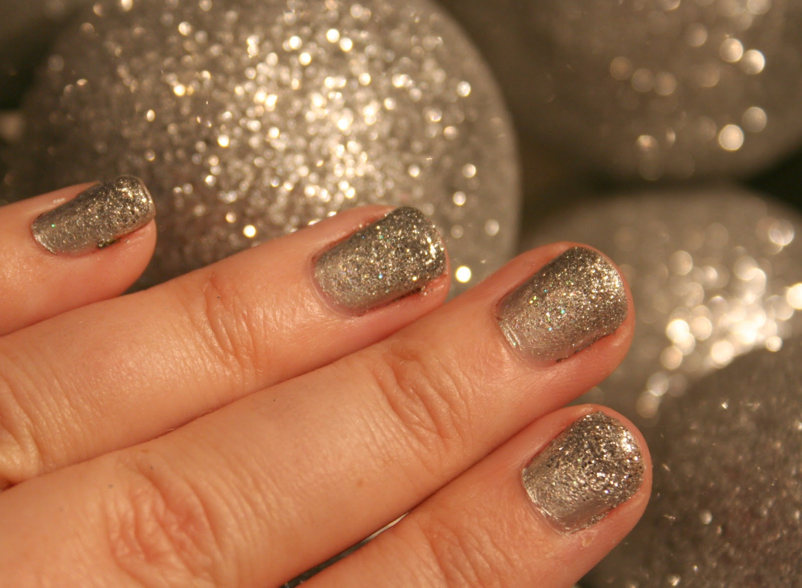 a chunky silver glitte...