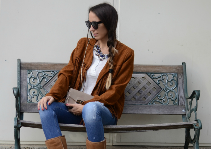 giacca camoscio frange